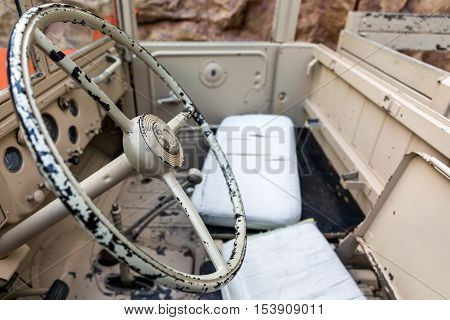 Interior Of Old Military Vehicle