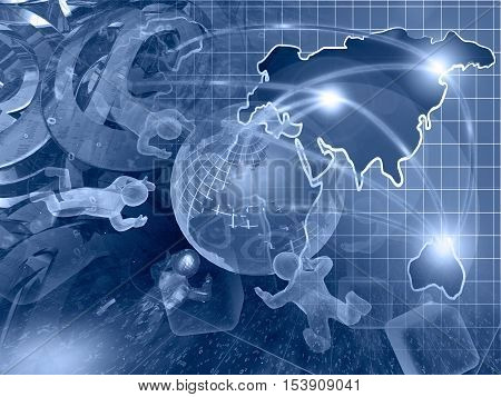 Computer background in blues with globe mans and map.