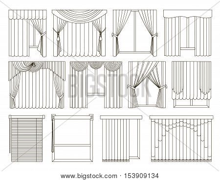 Collection of Different curtains and blinds for interior design - classic, horizontal and vertical blinds, Roman, draped, tulle. Big set of curtains on the windows.