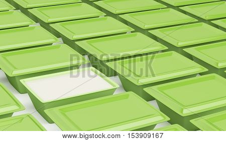 Multiple rows of plastic containers for cream cheese margarine or butter. 3D illustration