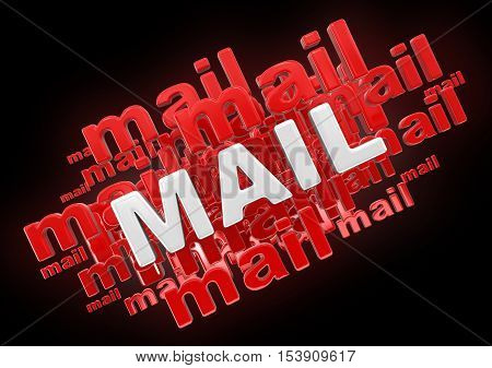 3D Illustration. Mail. Image with clipping path