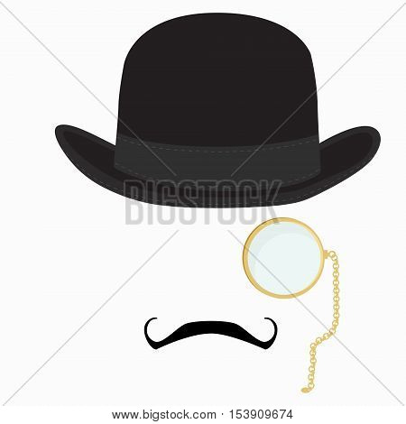 Vector illustration of black derby hat mustache and golden monocle with chain. Bowler hat. Black fashion gentleman hat. Gentleman concept poster