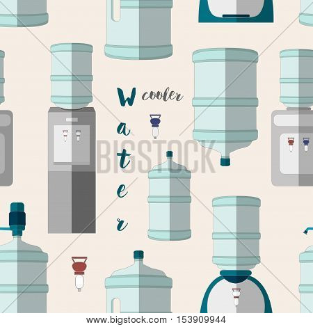 Icons for water cooler appliance pattern. Water jug with faucet, portable water cooler, full bottles and other elements for business and web design.