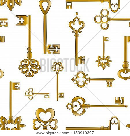 Ornamental medieval vintage keys pattern with intricate forging, composed of fleur-de-lis elements, victorian leaf scrolls and heart shaped swirls.