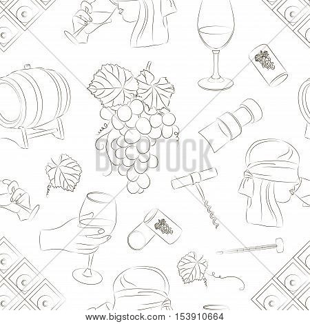 Tasting wine icons pattern. Wine and sommelier icons. Vector illustration