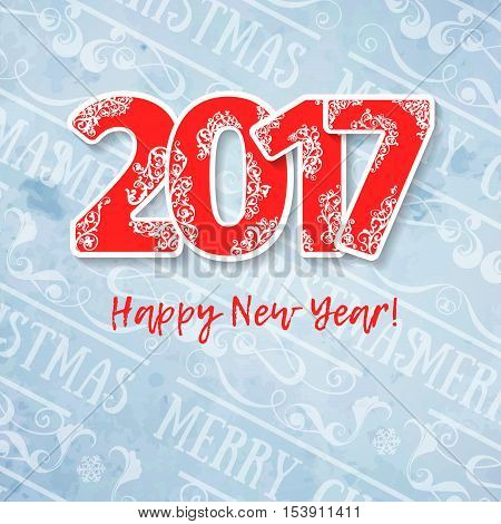2017 modern blue red color scheme new year greetings card on light blue background with words for book covers, booklets, signs, adds, backdrops, wallpapers. Festive mood