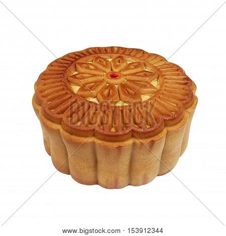 Mid-autumn Festival Moon Cake Solated On White Background And Clipping Path