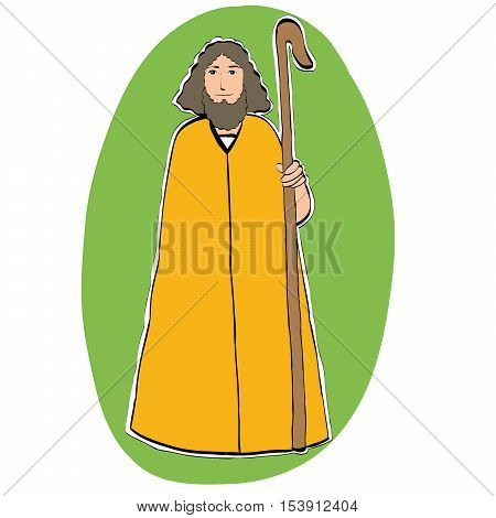 Joseph father of Christ, Christian Christmas character, color illustration isolated vector. Nativity scene