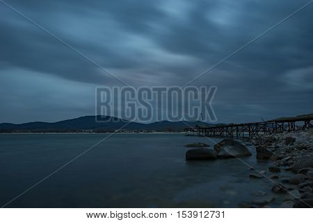 Cloudy sunset at the town of Chernomorets, near Burgas, Bulgaria