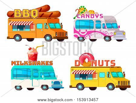 Four isolated cartoon colorful food trucks selling bbq donuts sweets and cocktails with appropriate signs vector illustration