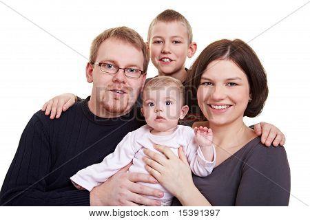 Familienfoto mit Kind und Baby