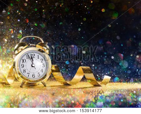 New Year Celebration With Alarm Clock And Confetti
