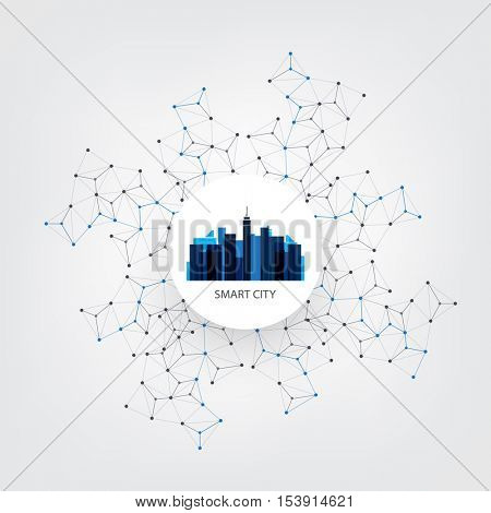Blue Smart City Design Concept with Icons - Digital Network Connections, Technology Background