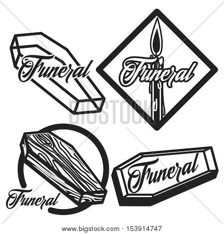 Vector set of funeral service logos. Badges, emblems, icons of gravestones in vintage style, isolated monochrome illustrations