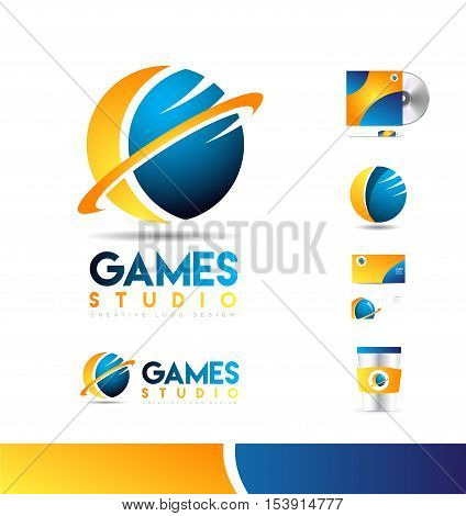 Game sphere 3d swoosh business vector logo icon sign design template corporate identity