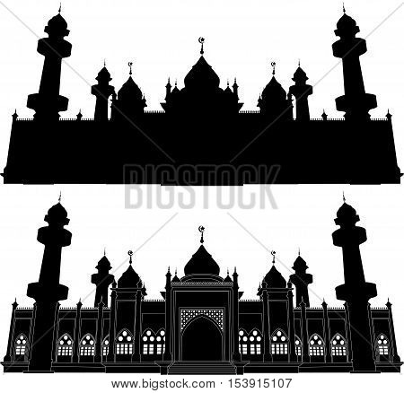 Jamiah Patani Mosque, Silhouette Domes and Minarets in Bright night Background with Crescent Moon, Vector Illustration