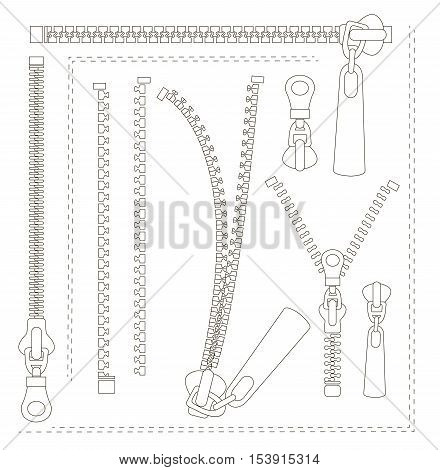 Set of different zippers. Vector illustration, EPS 10