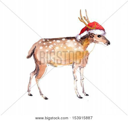 Cute new year deer in red santa's hat. Watercolor christmas animal