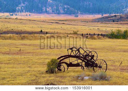 Antique farm equipment taken at a rural field in Northern California