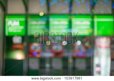 Abstract blur background of ATMs Machine for withdraw or deposit cash money, shallow depth of focus