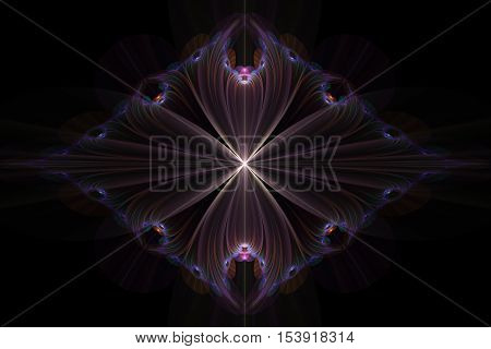 fractal abstract delicate soft glowing lotus flower with a purple fringe around the edges on a black background
