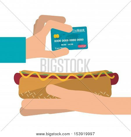 Hot dog and credit card icon. Fast food menu restaurant and market theme. Colorful design. Vector illustratio