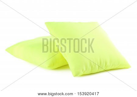 Green pillow isolated on a white background