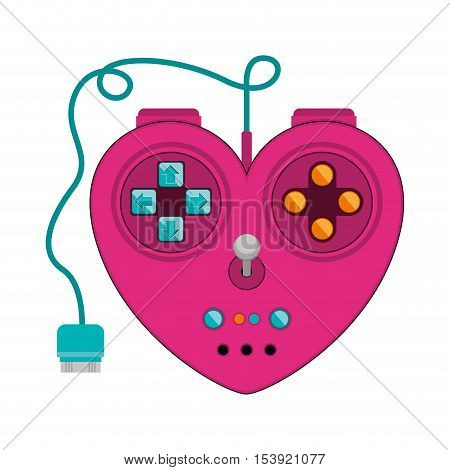 hearth form remote control for games with joystick vector illustration