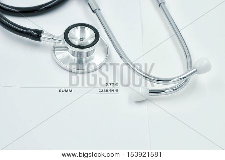 stethoscope and bill of health cost on vintage filter - can use to display or montage on product