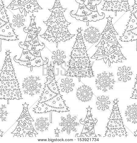 Vector hand drawn snowflakes, Christmas tree illustration for adult coloring book. Freehand sketch for adult anti stress coloring book page with doodle and zentangle elements.