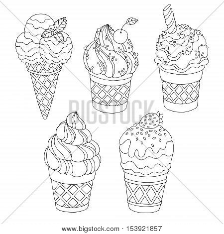 Vector hand drawn cartoon ice cream illustration for adult coloring book. Freehand sketch for adult anti stress coloring book page with doodle and zentangle elements.
