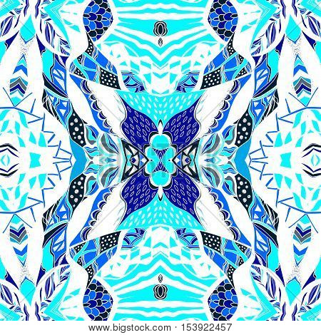 Traditional ornamental paisley bandanna. Hand drawn background with artistic pattern. Blue white and ultramarine colors. Seamless pattern can be used for  fills background