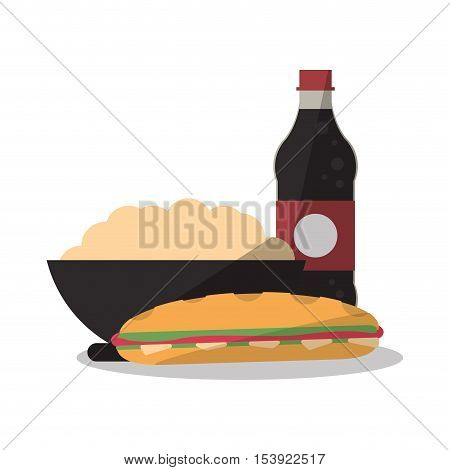 Noodle sandwich and soda icon. Fast food menu restaurant and market theme. Colorful design. Vector illustratio