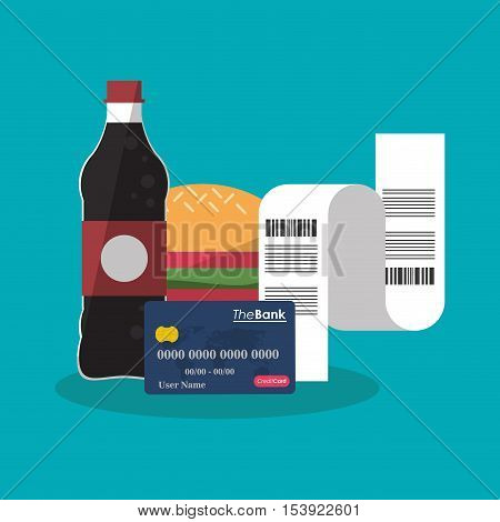 Hamburger and soda icon. Fast food menu restaurant and market theme. Colorful design. Vector illustratio