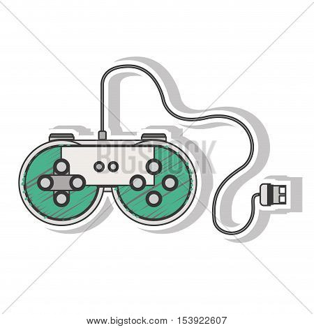 green remote control games with usb wired vector illustration
