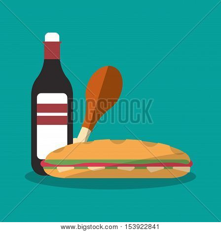 Chicken sandwich and bottle icon. Fast food menu restaurant and market theme. Colorful design. Vector illustratio