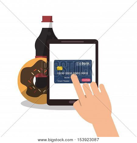 Soda donut tablet and credit card icon. Fast food menu restaurant and market theme. Colorful design. Vector illustratio