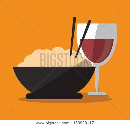Noodle and wine cup icon. Fast food menu restaurant and market theme. Colorful design. Vector illustratio