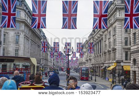 London, the UK - May 2016: Flags at Regent street