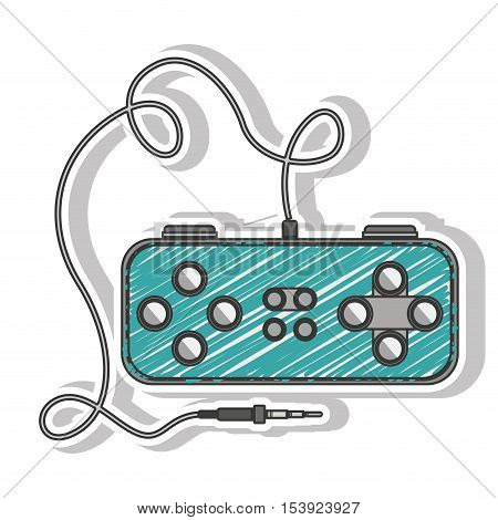 blue striped remote control games with rectangle form vector illustration