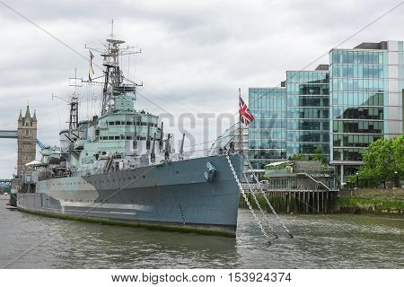 London, the UK - May 2016:HMS Belfast museum ship at the Thames river