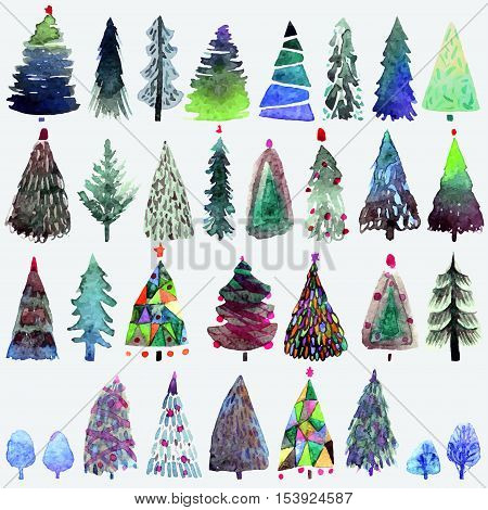 Big collection of watercolor Christmas tree isolated on a white background. Design holiday Christmas trees for wrapping paper, scrap booking