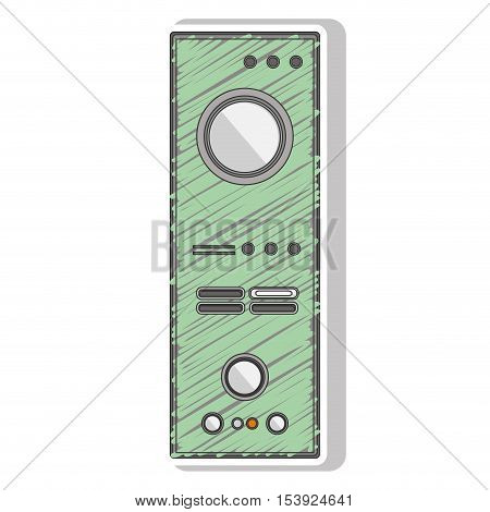 green striped remote controller with buttons vector illustration