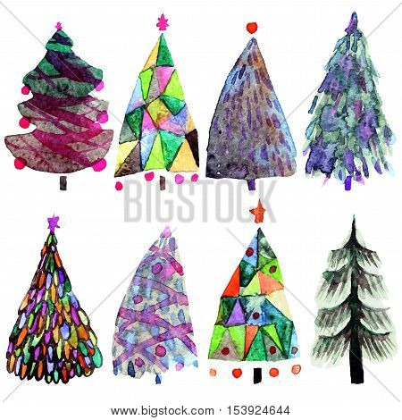 Watercolor tree.  Design holiday Christmas trees for wrapping paper scrap booking