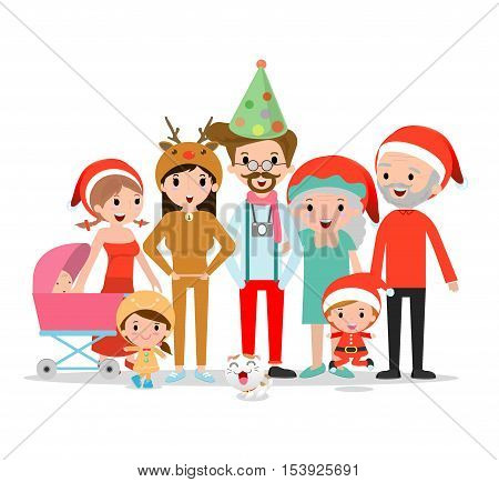 big christmas family together,Grandfather, grandmother,mother, father, girl, boy,children,kids, Happy christmas family Vector illustration