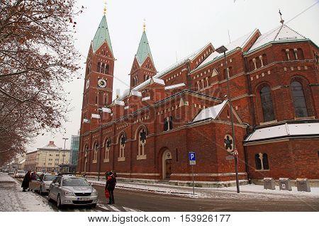 MARINER, SLOVENIA - JANUARY 6, 2016: Franciscan church St Mary Mother of Mercy in Maribor, Slovenia.