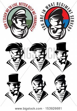 set of patterns of one man as bandit swindler adventurer gangster captain pirate gentleman