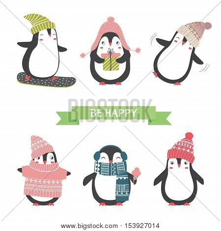 Сute penguins set. Christmas and new year card with cute penguins in different clothing