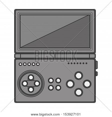 silhouette monochrome game cube remote control with screen and buttons vector illustration