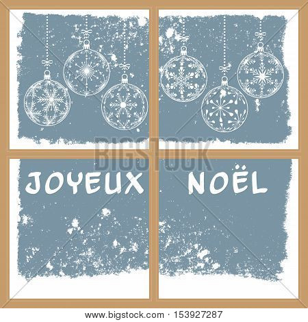 christmas snowy window vector illustration with christmas balls and french text merry christmas france holiday background